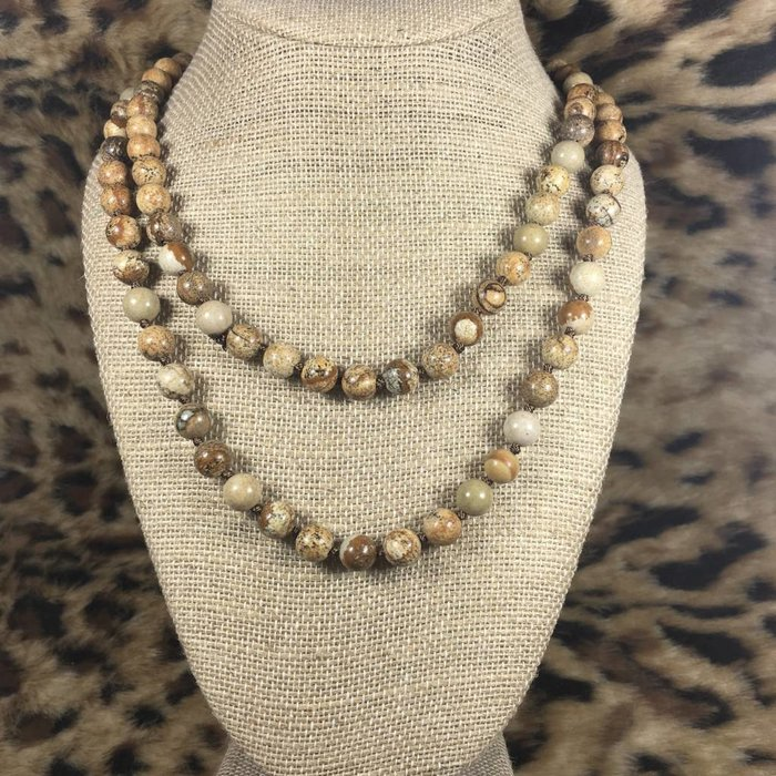 "Brown Natural Stone 60"" Knotted Necklace"