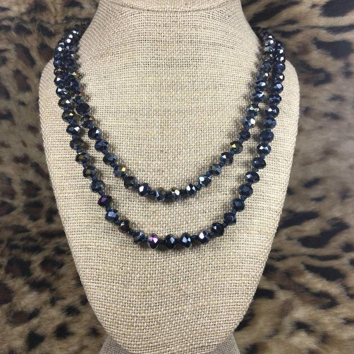 """Navy Blue AB 60""""Crystal Beaded Necklace"""