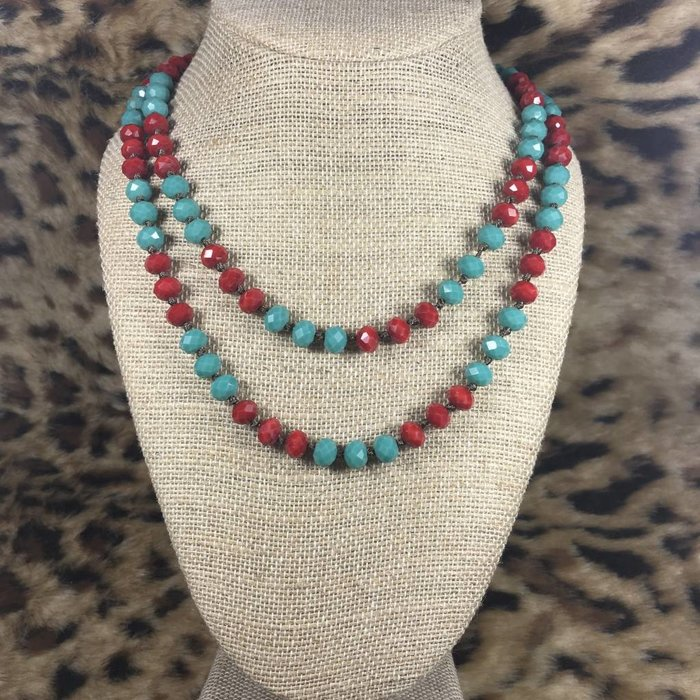 Red & Turquoise Knotted Crystal Beaded Necklace