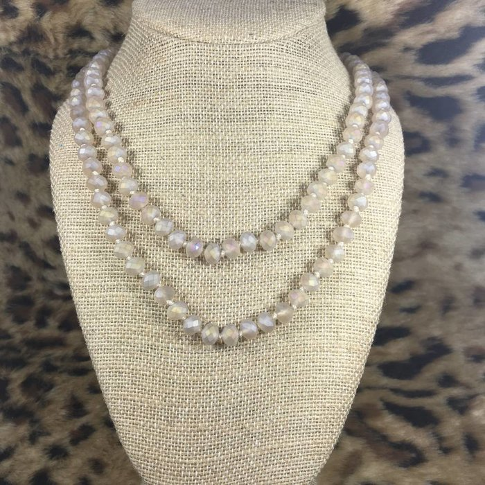 "Nude 60"" Crystal Beaded Necklace"