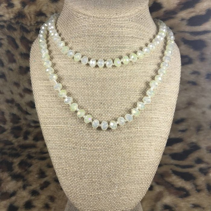"""Ivory 60"""" Crystal Beaded Necklace"""