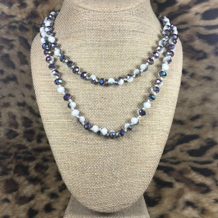 """Marble Mystic Topaz 60"""" Crystal Beaded Necklace"""