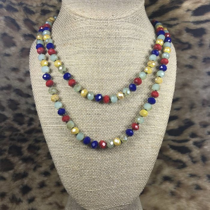 """Multi Beaded Crystal 60"""" Necklace"""