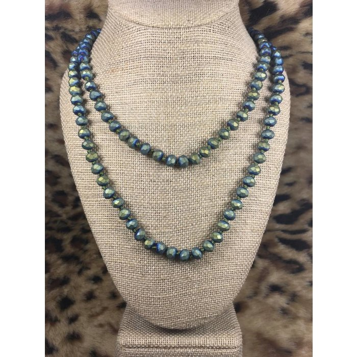 "Green Matte AB 60"" Crystal Beaded Necklace"