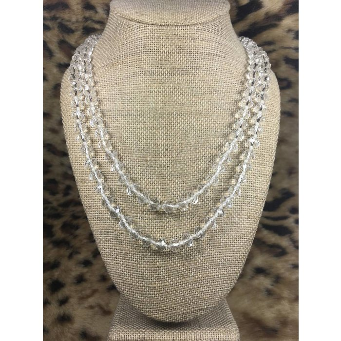 """Clear 60"""" Crystal Beaded Necklace"""