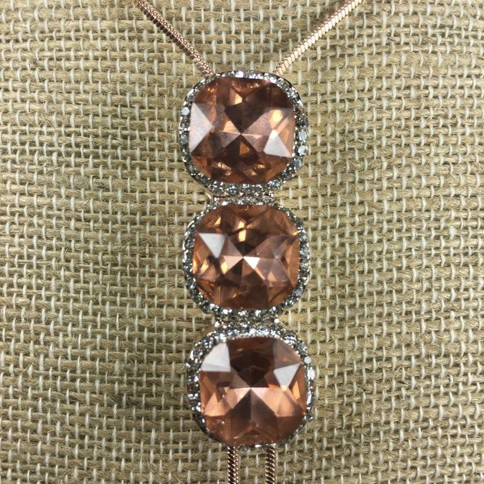 3 Large Stone Gold Rose Gold Crystal Necklace