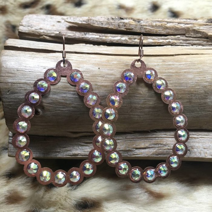 Light Copper AB Open Teardrop Earrings