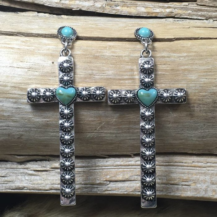 Studded Silver Cross Earrings with Turq Stone