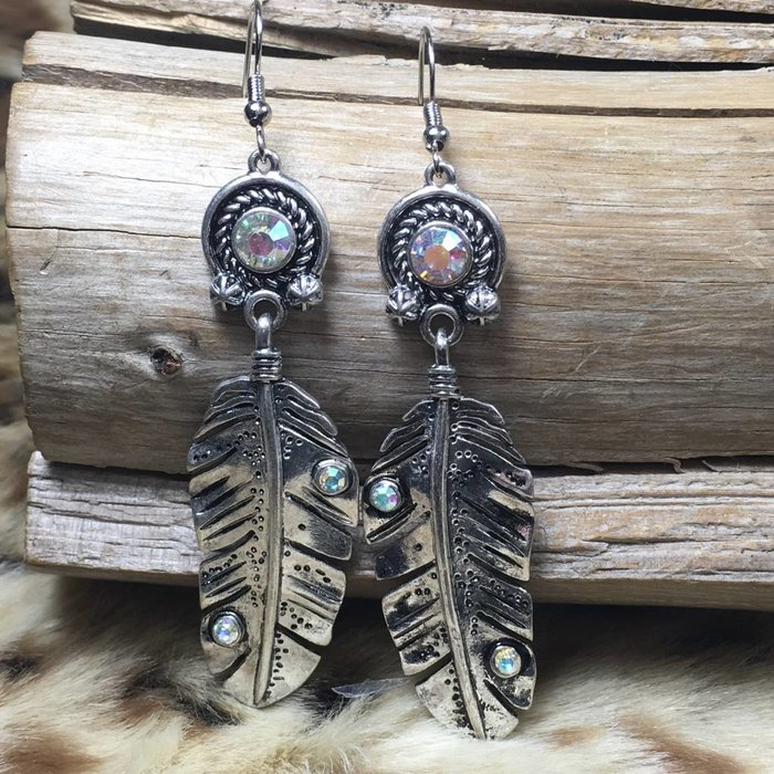 Silver AB Crystal Feather Earring