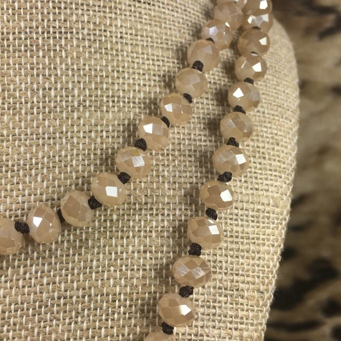 """Champagne Crystal Brown Knotted 60"""" Necklace"""