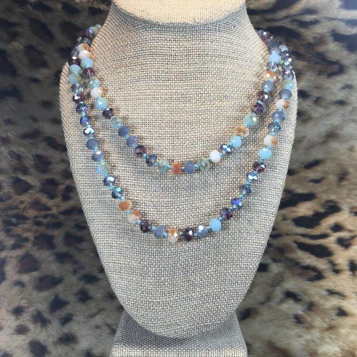 "Sea Salt & Caramel 60"" Crystal Beaded Necklace"