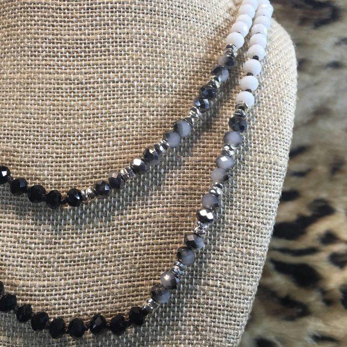 "Medium Black Multi 60"" Crystal Beaded Necklace"