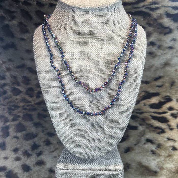 """Skinny Vitral 60"""" Crystal Beaded Necklace"""