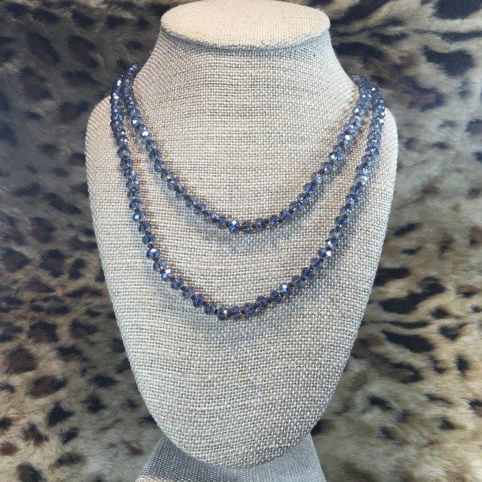 "Medium Denim 60"" Crystal Beaded Necklace"