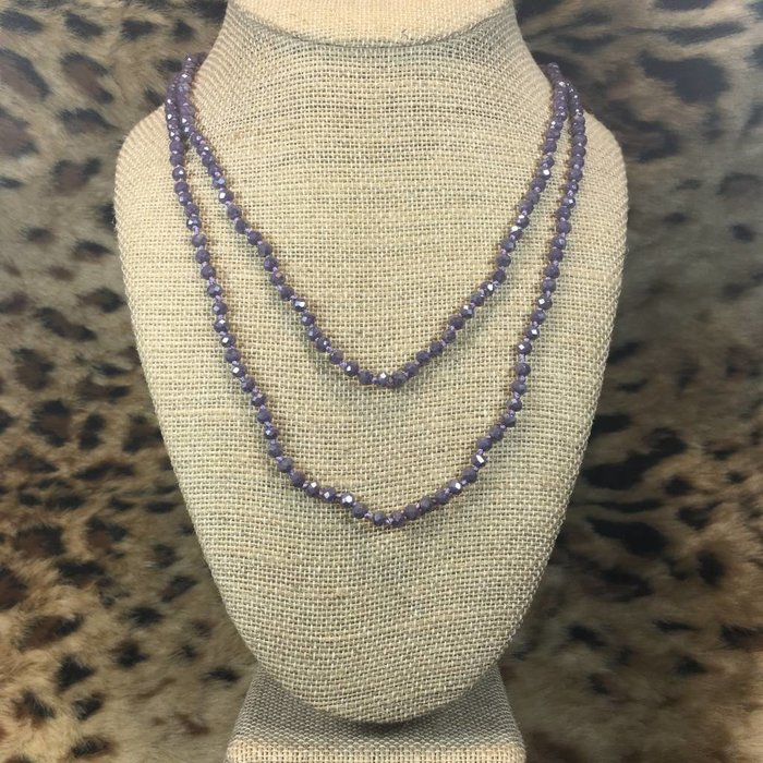 "Skinny Lavender 60"" Crystal Beaded Necklace"