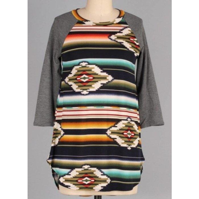 PLUS Charcoal Aztec Print Tunic Top