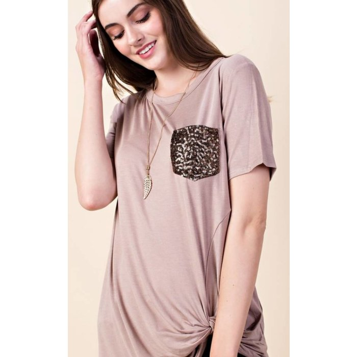 PLUS Taupe Knotted Hem Sequined Pocket Top