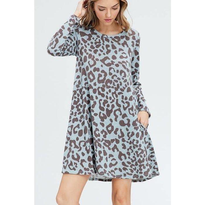 Mint & Grey Leopard Long Sleeve Dress