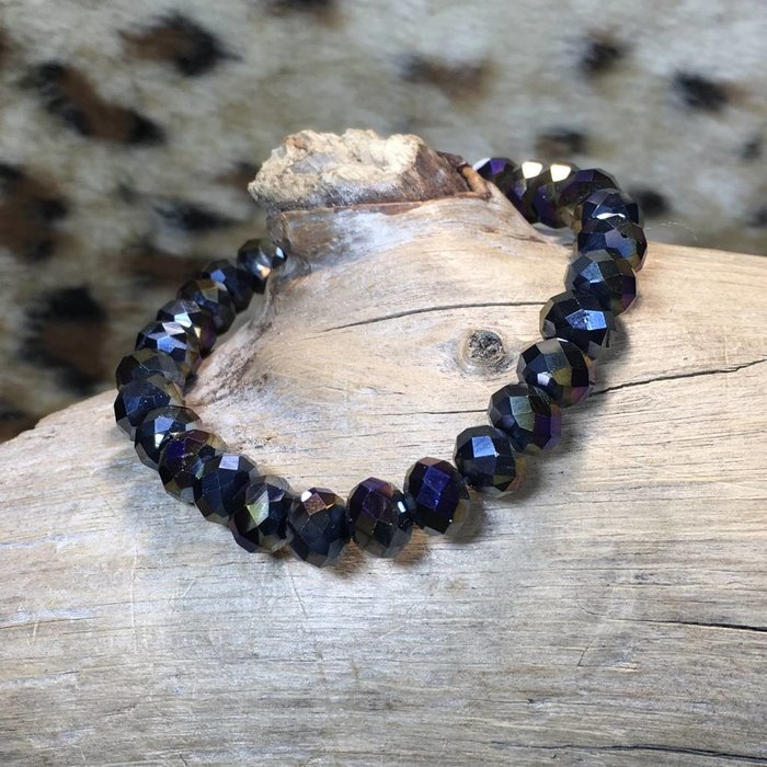 Dark Vitral Crystal Beaded Stretch Bracelet