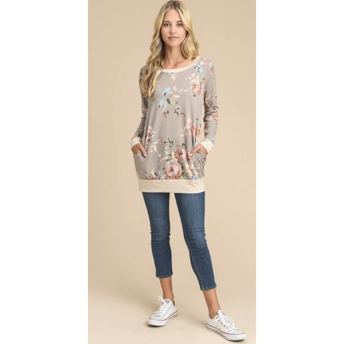 Light Mocha Floral Pullover with side pockets