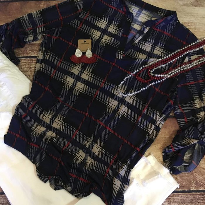 Plus Navy Plaid Tunic with Roll Tab Sleeves