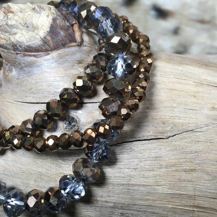 Bronze 3-Piece Crystal Bracelet Set