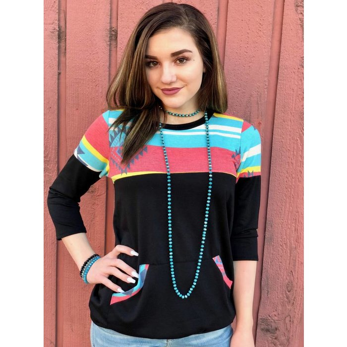 Black Aztec Front Pocket Pullover