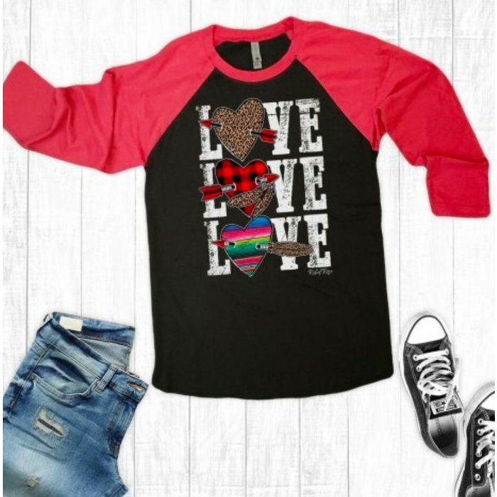 Love Leopard Plaid Serape Raglan Top