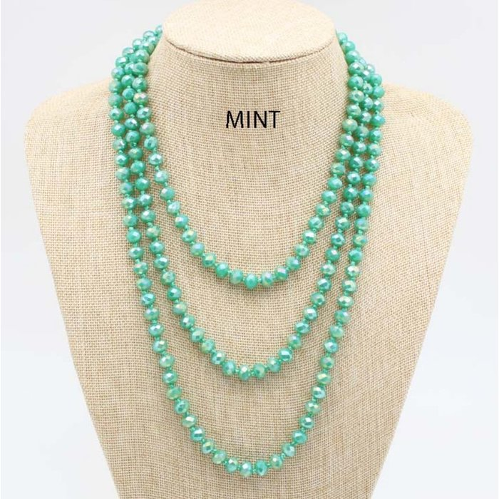 """Mint 60"""" Crystal Knotted Long Necklace"""