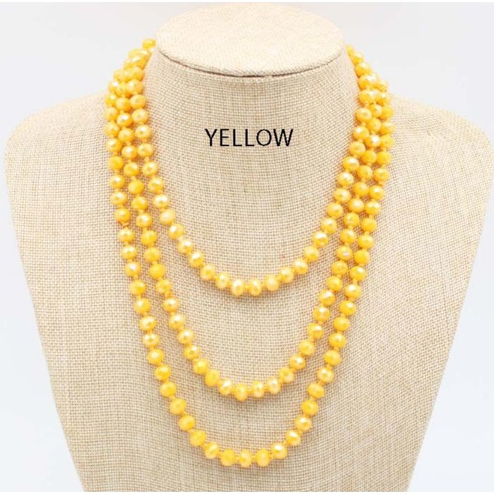 "Yellow AB 60"" Crystal Beaded Necklace"