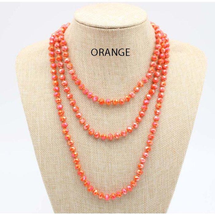 """Orange AB 60"""" Crystal Beaded Necklace"""