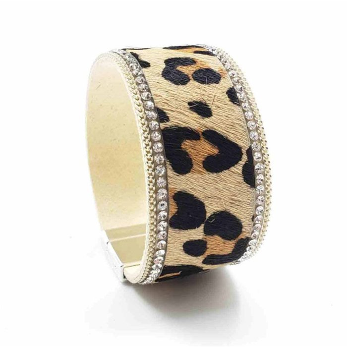 Wide Band Leopard Clear Rhinestone Magnetic Bracelet