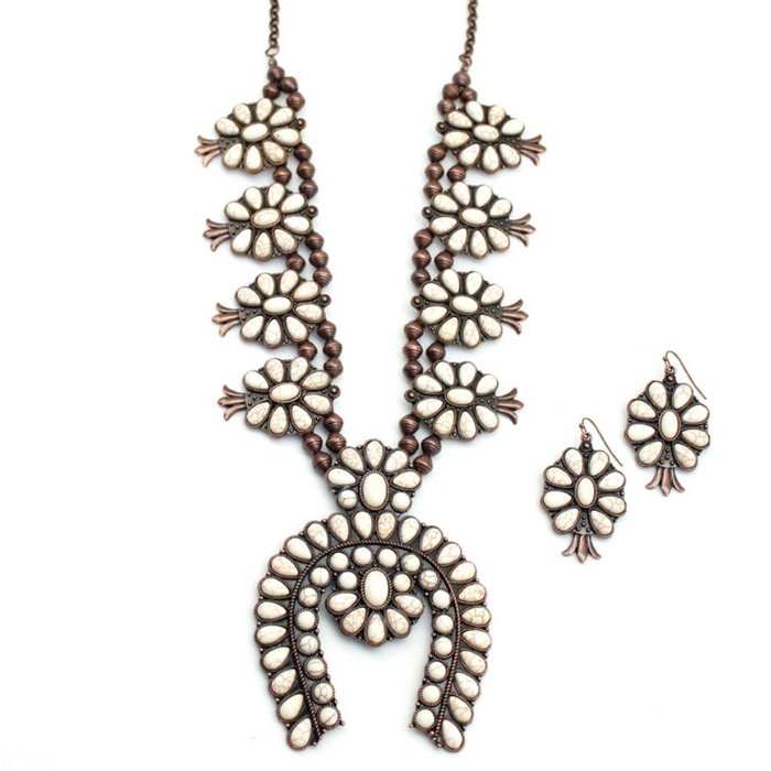 Ivory Bronze Flower Squash Necklace Set