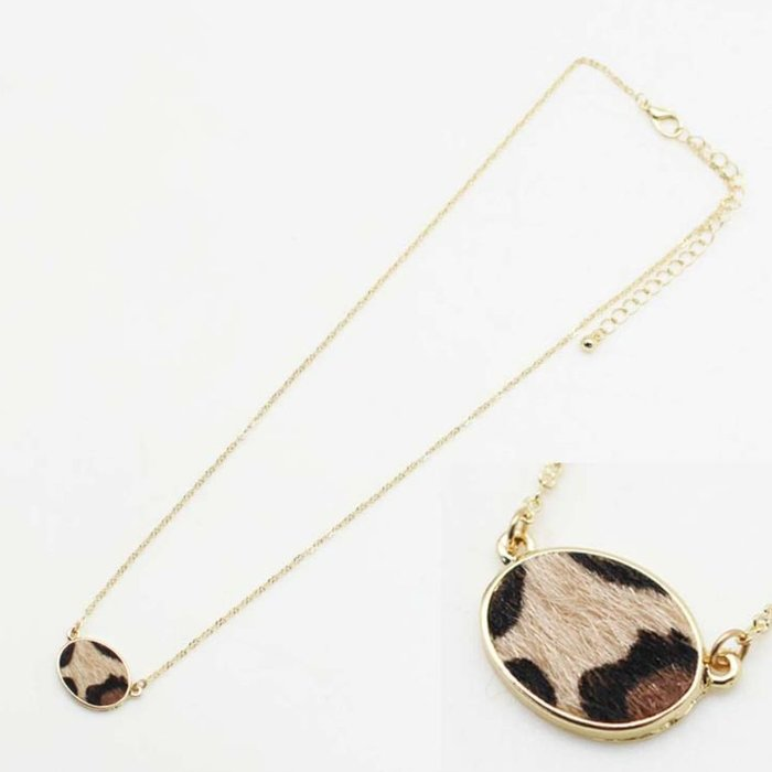 Leopard Oval Gold Necklace