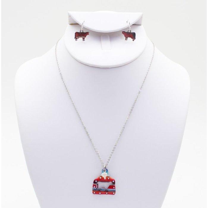 Serape Cow Tag Necklace Set