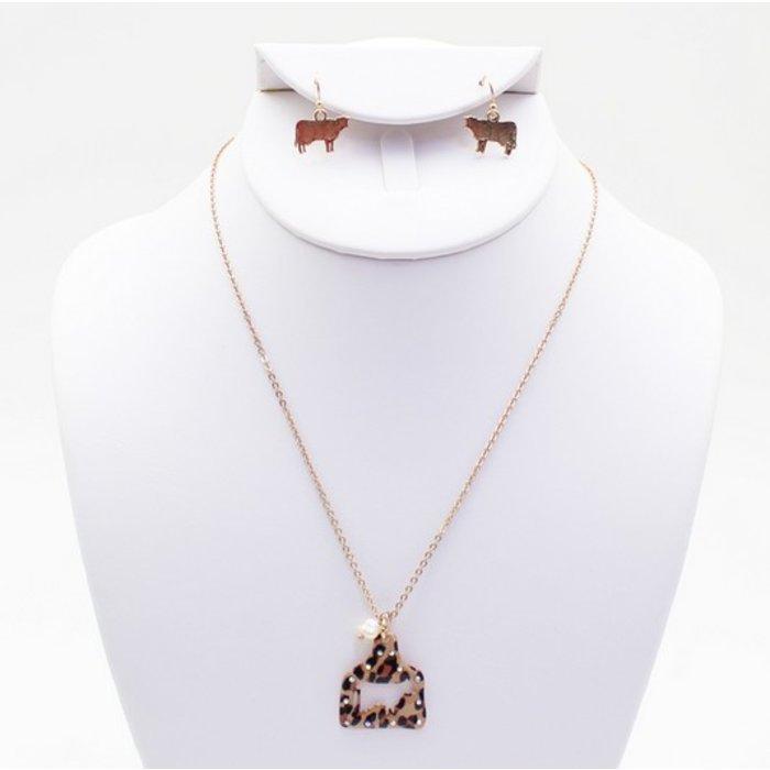 Leopard Cow Tag Necklace Set