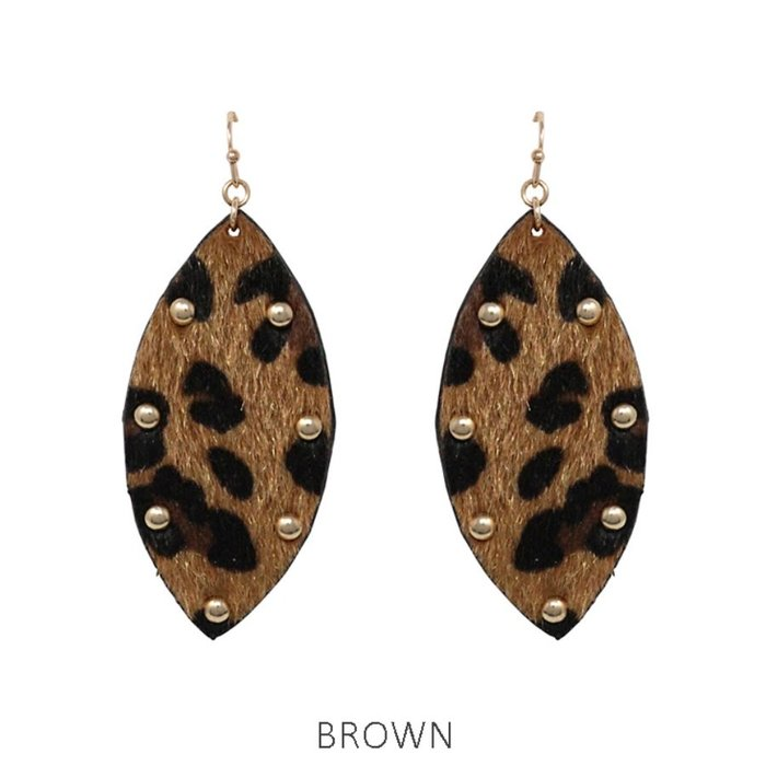 Dark Faux Leopard Gold Studded Earrings