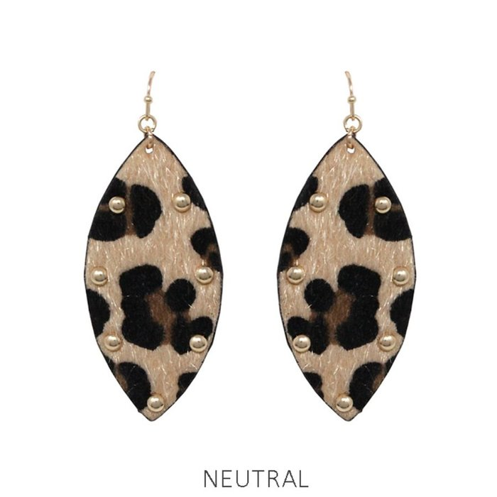Light Faux Leopard Gold Studded Earrings