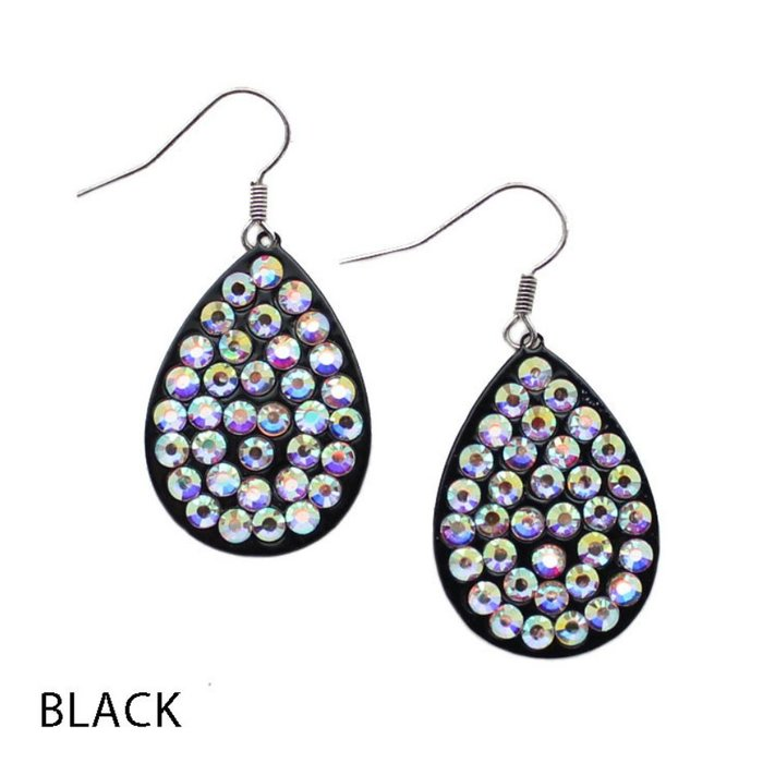 Small AB Black Teardrop Earrings