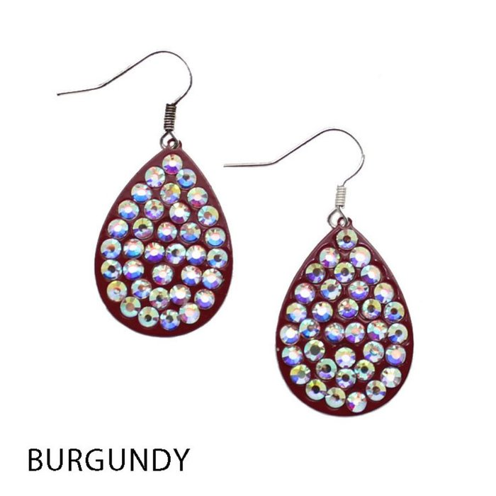 Small AB Burgundy Teardrop Earrings