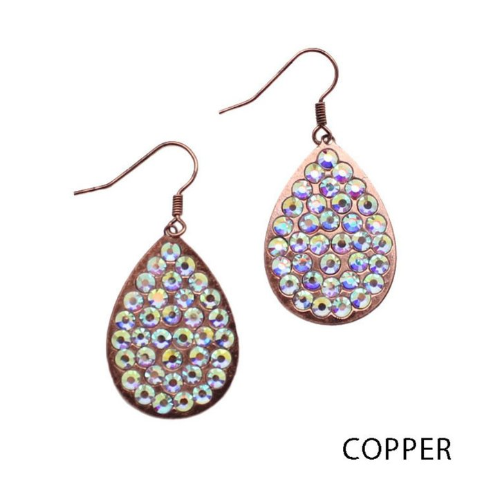 Small AB Copper Teardrop Earrings