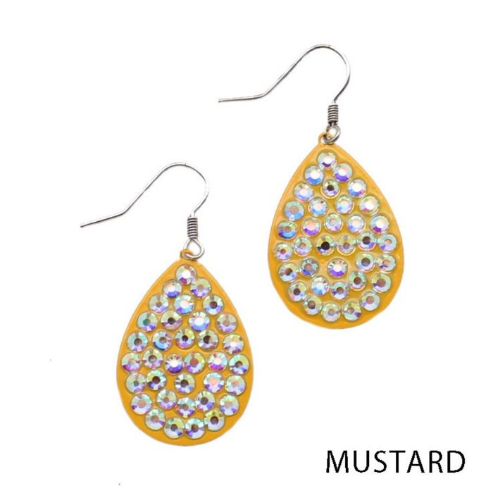 Small AB Mustard Teardrop Earrings