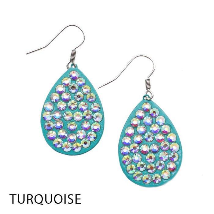 Small AB Turquoise Teardrop Earrings
