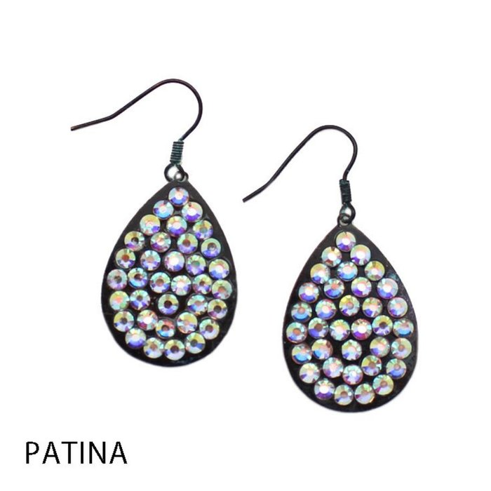 Small AB Patina Teardrop Earrings