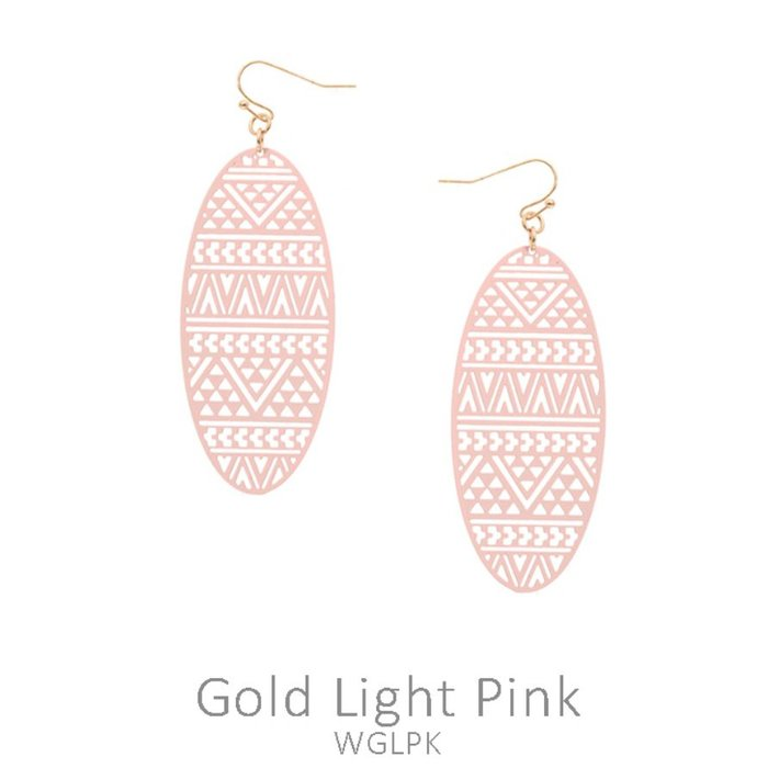 Pink Aztec Oval Laser Cut Earrings