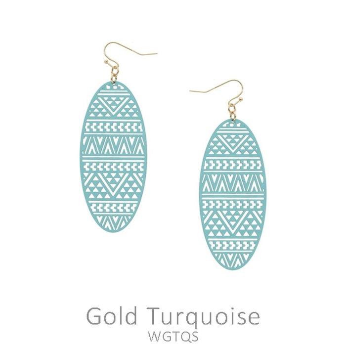 Turquoise Aztec Oval Laser Cut Earrings