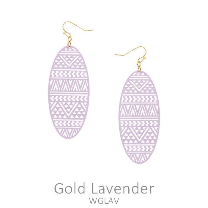 Lavender Aztec Oval Laser Cut Earrings