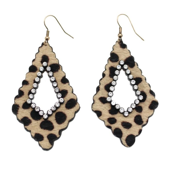 Cheetah Scallop Damask Rhinestone Earrings