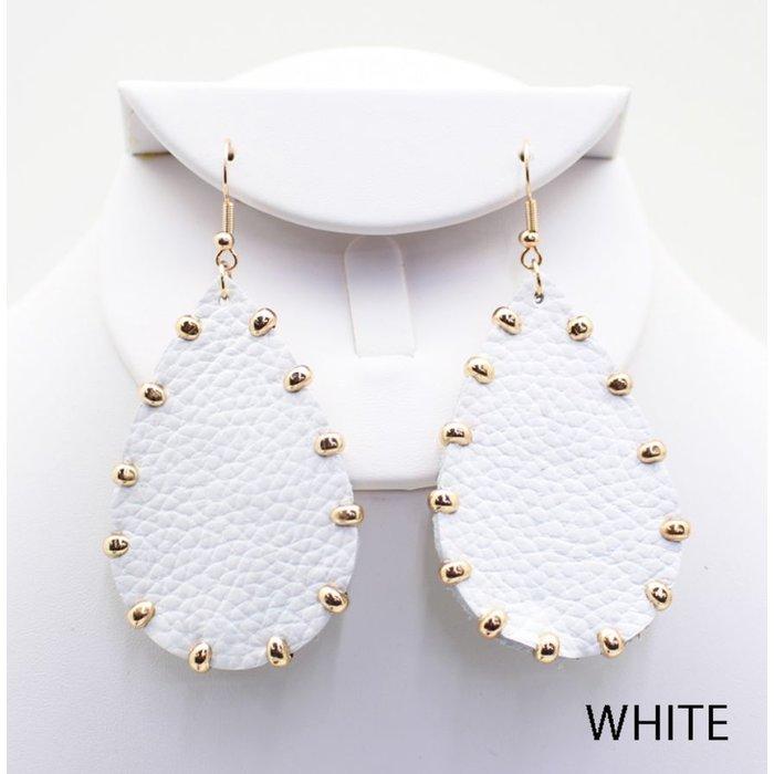 White Gold Studded Teardrop Earrings