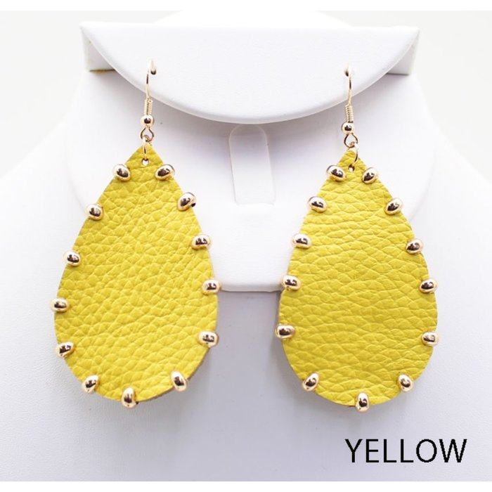 Yellow Gold Studded Teardrop Earrings